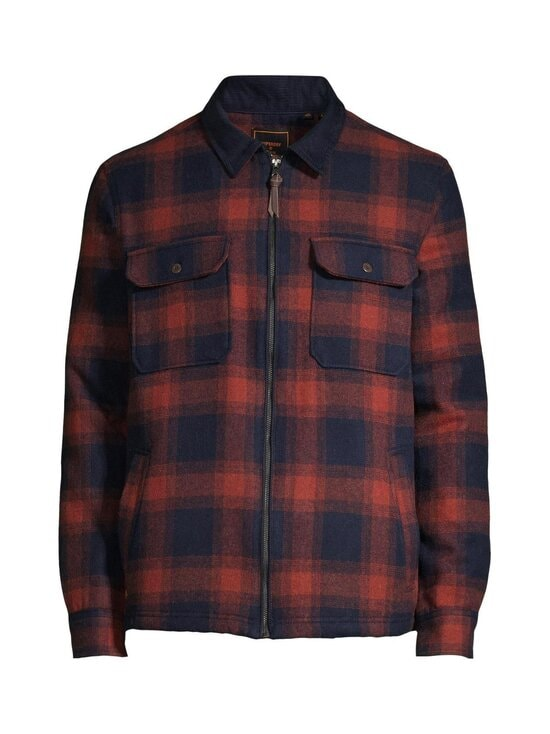 Superdry - Hunting ZipThru Wool Overshirt -takki - 4TI RUST OMBRE CHECK | Stockmann - photo 1