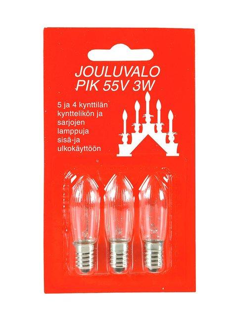 Varalamppu Pik 55V 3W E10, 3 kpl