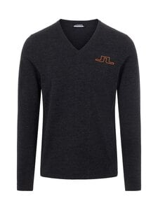 J.Lindeberg - Clas V-Neck Golf Sweater -merinovillaneule - 9992 BLACK MELANGE   Stockmann