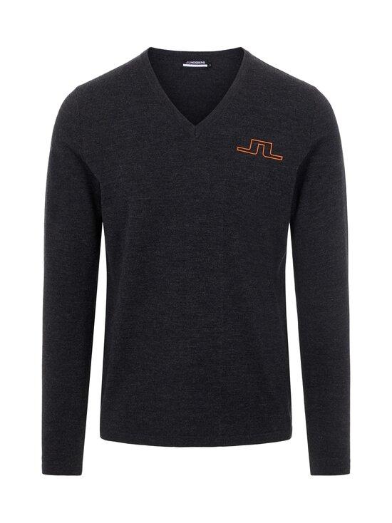 J.Lindeberg - Clas V-Neck Golf Sweater -merinovillaneule - 9992 BLACK MELANGE | Stockmann - photo 1