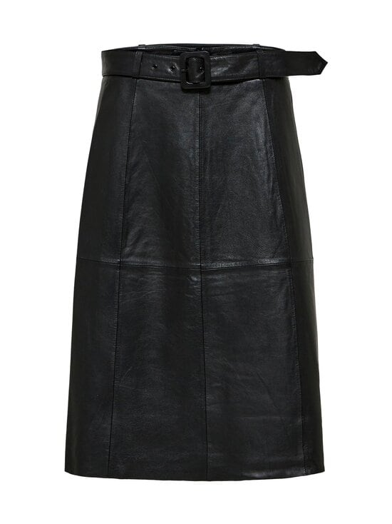Selected - SlfOlly HW Midi Leather Skirt -nahkahame - BLACK | Stockmann - photo 1