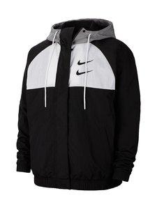 Nike - Swoosh Hooded -takki - 011 BLACK/WHITE/PARTICLE GREY/BLACK | Stockmann