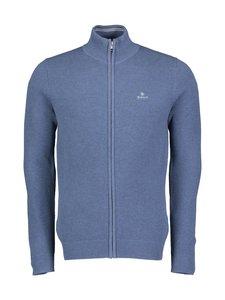 GANT - Cotton Pique Zip -neuletakki - 906 DENIM BLUE MEL | Stockmann