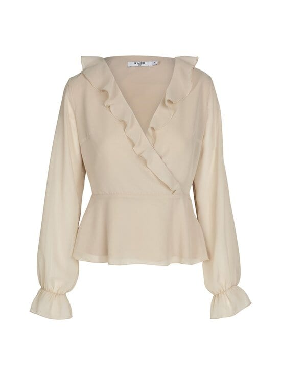 NA-KD - Wrapped Ruffle Blouse -pusero - BEIGE | Stockmann - photo 1