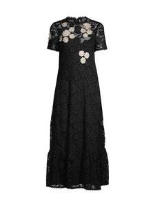 RED Valentino - Flowers Embroided Macramé Dress -pitsimekko - 0NA BLACK CBO | Stockmann