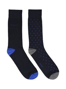 GANT - Dot And Solid Socks -sukat 2-pack - 422 NAUTICAL BLUE   Stockmann