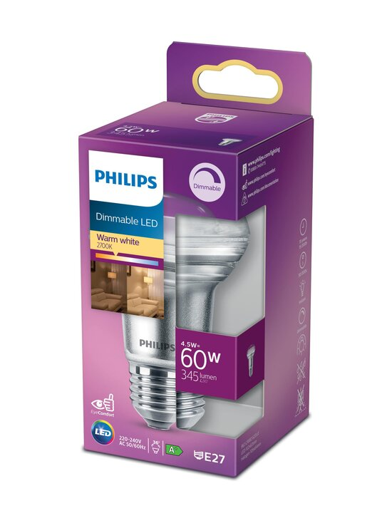 Philips - LED 60W E27 Warm White Dimming -heijastinlamppu - WHITE   Stockmann - photo 1