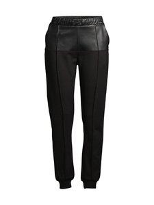 Karl Lagerfeld - Faux Leather Jersey Joggers -housut - 999 BLACK | Stockmann