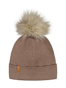 Metsola - RIB Beanie with Fur pom pom -pipo - 45 COCONUT | Stockmann