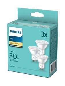 Philips - LED Spot 50W GU10 Warm White -spottilamppu 3 kpl - WHITE | Stockmann