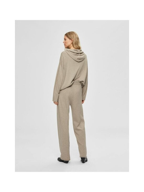 Selected - SlfInka Medium Waist Long Knit Pant -neulehousut - SAND DETAIL:MELANGE | Stockmann - photo 2