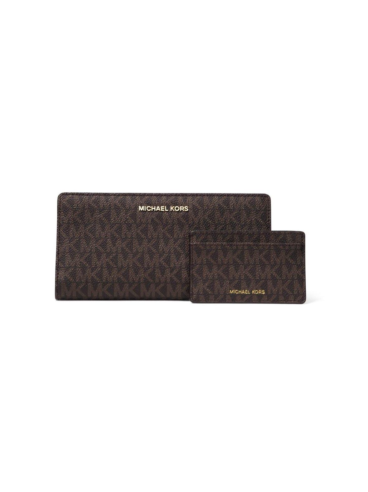 eac5a9b24a6c Brown Acorn Michael Michael Kors Logo Slim Wallet -lompakko ja ...