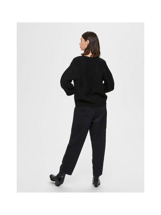 Selected - SlfSif-Kai LS Rib Knit -villasekoiteneuletakki - BLACK | Stockmann - photo 2