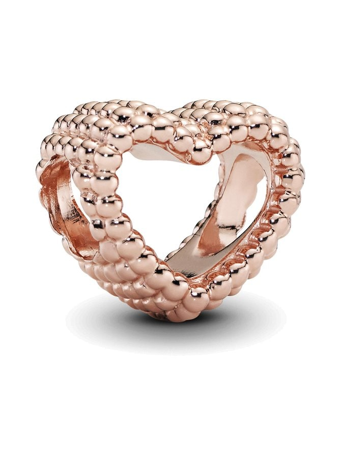 Beaded Heart Rose Charm