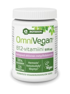 Bioteekki - OmniVegan B12 -vitamiini 500 µg, 120 tabl/28 g | Stockmann