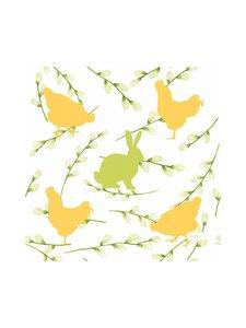 Duni - Bunnies & Hens -servetti 24 x 24 cm, 20 kpl - WHITE-YELLOW-GREEN | Stockmann