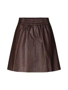 SECOND FEMALE - Melvin Leather Mini Skirt -nahkahame - 6066 BROWN STONE | Stockmann