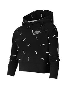 Nike - Cropped Pullover Hoodie -huppari - BLACK/WHITE/LT SMOKE GREY | Stockmann