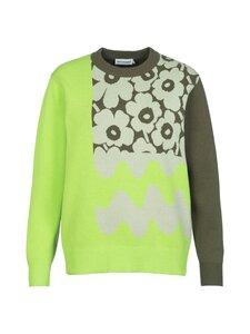 Marimekko - Co-Created Sinirinta knitted pullover -neule - 066 BRIGHT GREEN, DARK OLIVE | Stockmann