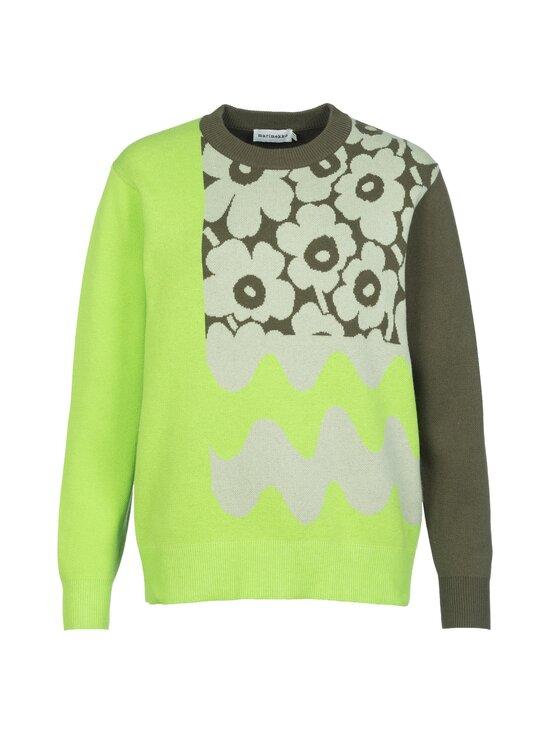 Marimekko - Co-Created Sinirinta knitted pullover -neule - 066 BRIGHT GREEN, DARK OLIVE   Stockmann - photo 1