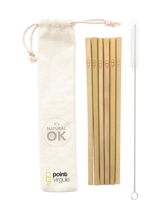Suorat bambupillit 6 kpl + puhdistusharja