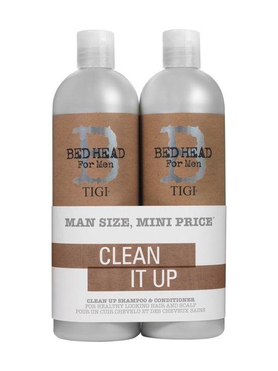 B for Men Clean Up Daily -shampoo 750 ml + Clean Up Peppermint -hoitoaine 750 ml