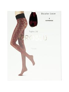 Oroblu - Bicolor Lace 20 den -sukkahousut - BLACK/REDWOOD | Stockmann