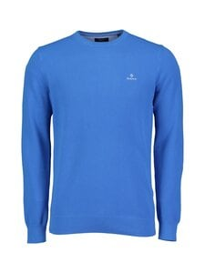GANT - Cotton Pique C-Neck -puuvillaneule - 416 CLEAR BLUE | Stockmann