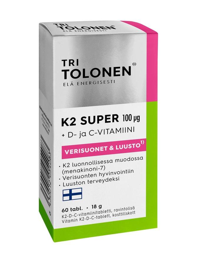 Tri Tolonen K2 Super D- ja C-vitamiini 60 tabl/100 µg