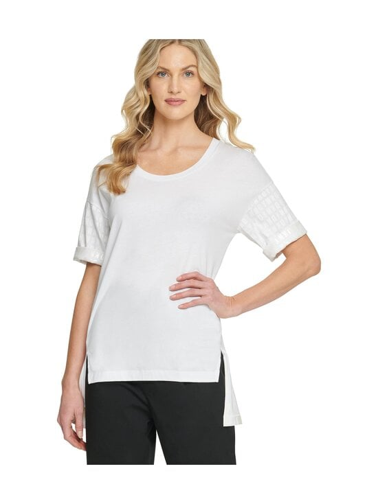 Dkny - Jersey Top SS Logo Detail -paita - XOT - WHT/SHN WH | Stockmann - photo 1