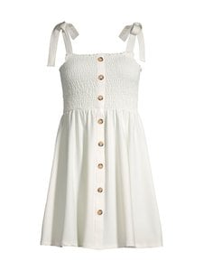 NA-KD - Tie Strap Smocked Dress -mekko - WHITE | Stockmann
