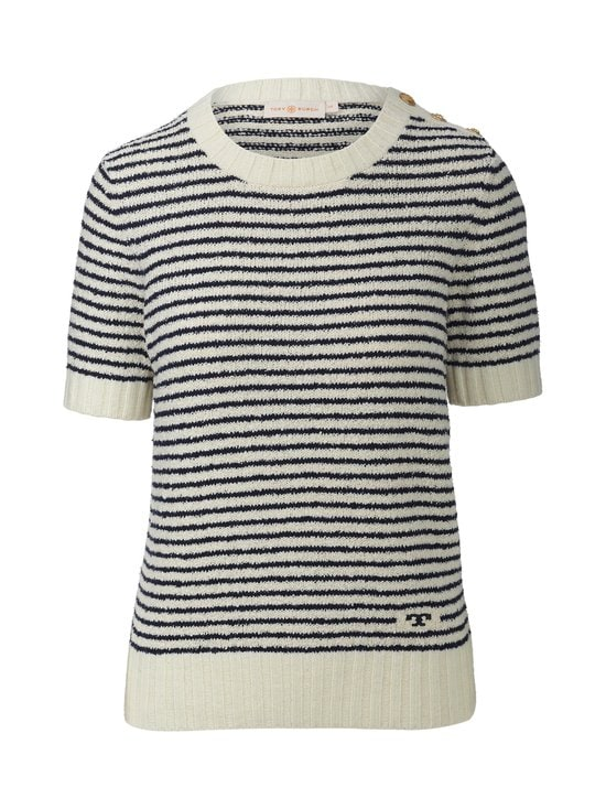Tory Burch - Logo Bouclé Stripe Tee -paita - 104 IVORY | Stockmann - photo 1