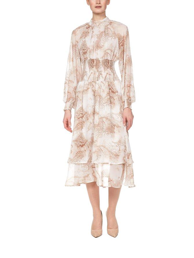 Oyster Printed Smocked Dress -mekko