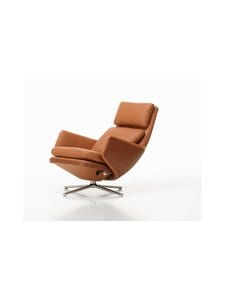 Vitra - Grand Relax Lounge Chair -nojatuoli - 01 COGNAC / POLISHED ALUMIUM | Stockmann