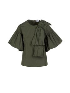 RED Valentino - Bow Detail Taffeta Top -pusero - 1TM ABETE OLIVE | Stockmann