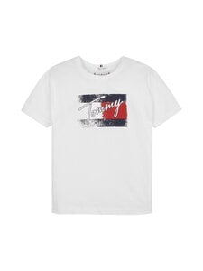 Tommy Hilfiger - Flag Print Tee S/S -paita - YBR WHITE | Stockmann