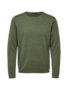 Selected - SlhDome Crew Neck -puuvilla-silkkisekoiteneule - AGAVE GREEN DETAIL:MELANGE | Stockmann