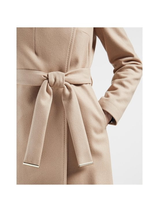 Rose Midi Wool Wrap Coat With Shoulder Panels -villakangastakki