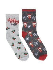 Pieces - PcRahma Christmas Sock Box -sukat 2-pack - LIGHT GREY MELANGE DETAIL:2PACK W MISTLETOE AND RUDOLPH | Stockmann