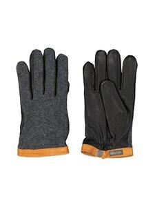 Hestra - Deerskin Wool Tricot -nahkakäsineet - 390100 CHAROCOAL / BLACK | Stockmann