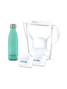Brita - Marella vedensuodatinkannu 2 x Maxtra suodattimella sekä ruostumattomasta teräksestä pullo - WHITE PITCHER, BOTTLE TURQUOISE | Stockmann