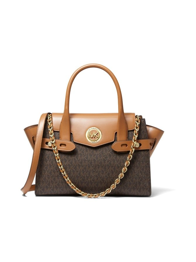 Carmen Small Logo and Leather Belted Satchel -laukku