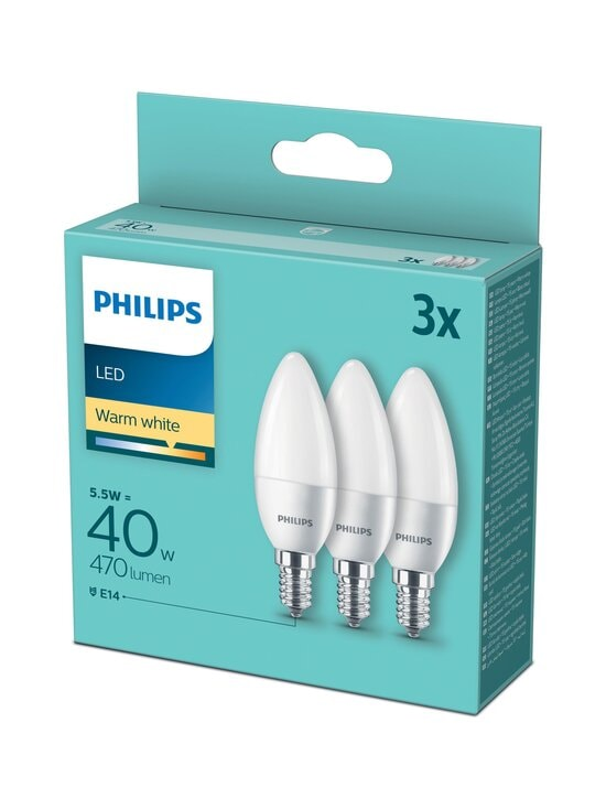 Philips - LED Candle 40W E14 Warm White -kynttilälamppu 3 kpl - WHITE | Stockmann - photo 1