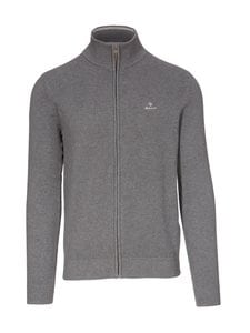 GANT - Cotton Pique Zip -neuletakki - 90 DARK GREY MELANGE | Stockmann