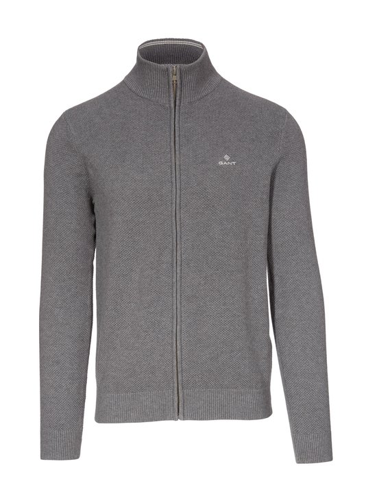 GANT - Cotton Pique Zip -neuletakki - 90 DARK GREY MELANGE | Stockmann - photo 1
